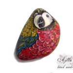 papuga kamień malowany