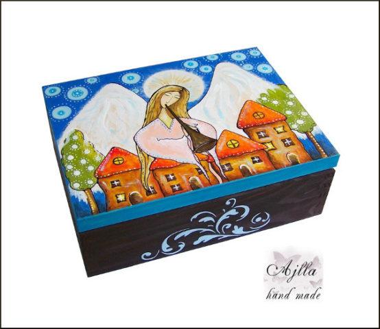 szkatułka z aniołem na prezent