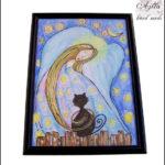 anioł z kotem rysunek