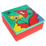 kasetka drewniana koty ręcznie malowana
