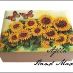 pudełko drewniane słoneczniki